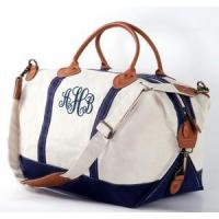 Cheap Monogrammed Canvas Weekender Duffle Bag - REAL LEATHER trim for sale