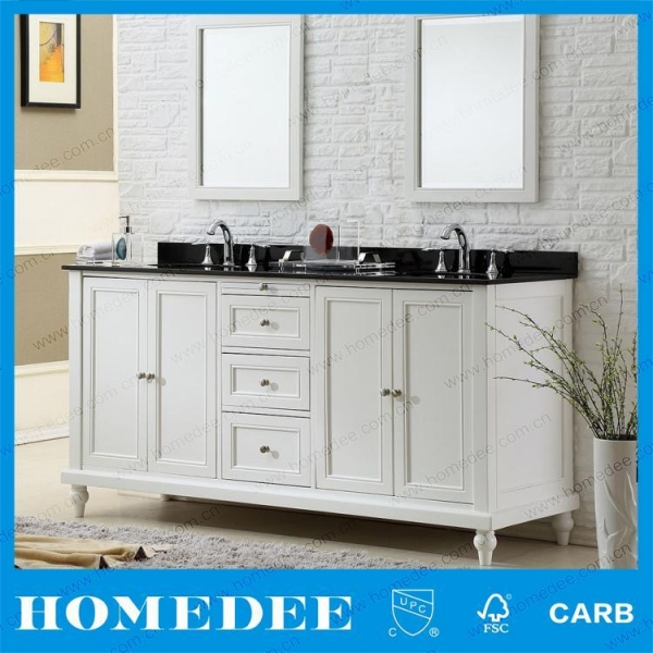 wholesale wood distressed bathroom vanities with double bowl for hotel with certificate of