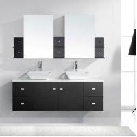 "Bathroom Vanities Clarissa 60"" Modern Double Sink Bathroom Vanity Stone Top in Espresso"