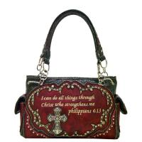 Cross and Bible Verse Western Bag Red Model: BI-893(RD)