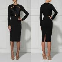 Black / Red Casual Cut Out Bandage Dress Long Sleeve For Women