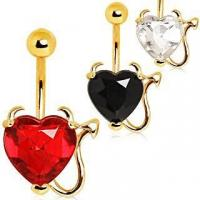 Cheap Devilish Heart with Gold Plated Horns & Tail Jeweled Belly Button Ring ITEM ID: NYD010 for sale