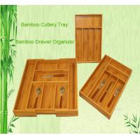 Cheap bamboo cutlery tray drawer organizer tableware box for sale