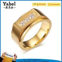 Cheap Gold Stainless Steel Wedding Zircon Three-stone Ring Designs For Men for sale