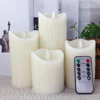 Cheap Scented Luminara led candles with auto timer Led Wax Pillar Candle With Moving Woving Wick for sale